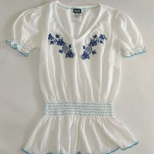 D&G White Embroidered Cotton Top
